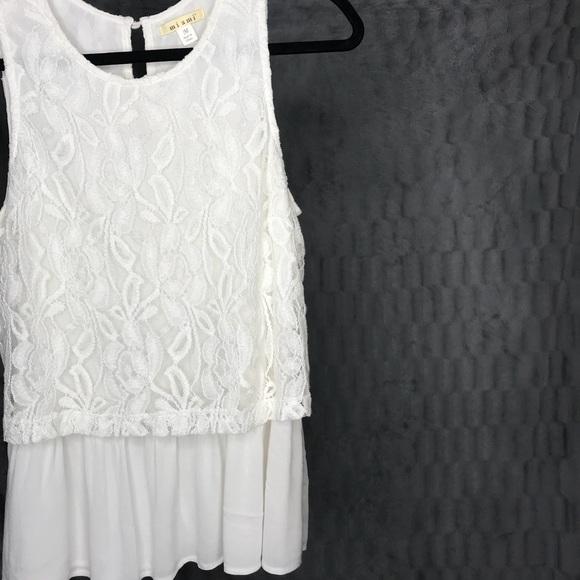 miami Tops - Miami White Floral Layered Lace Tank Top